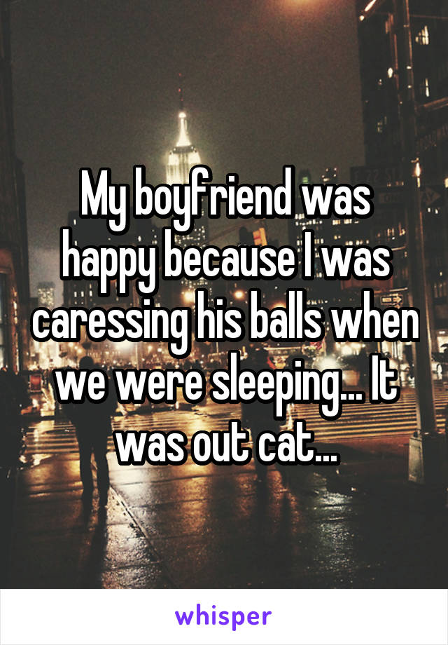 My boyfriend was happy because I was caressing his balls when we were sleeping... It was out cat...