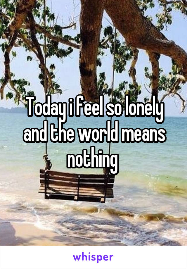 Today i feel so lonely and the world means nothing