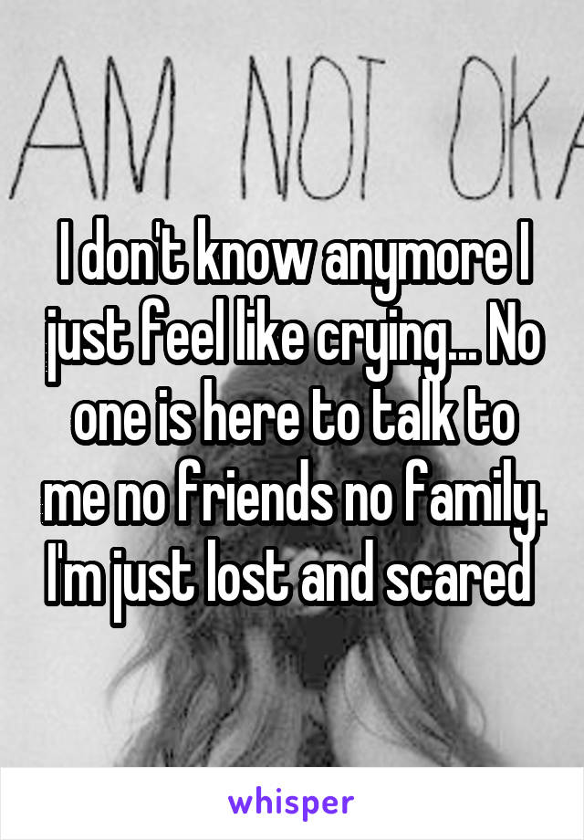 I don't know anymore I just feel like crying... No one is here to talk to me no friends no family. I'm just lost and scared