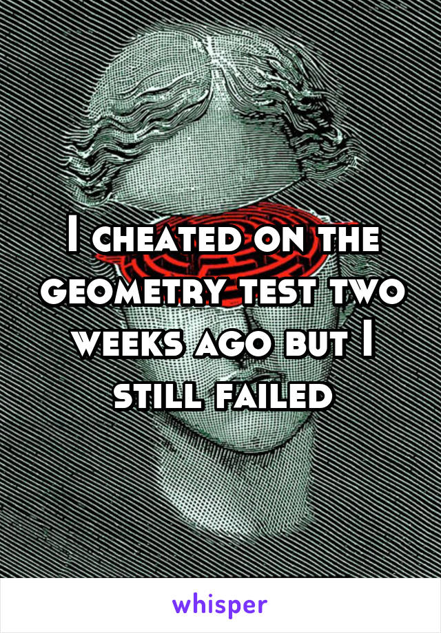 I cheated on the geometry test two weeks ago but I still failed