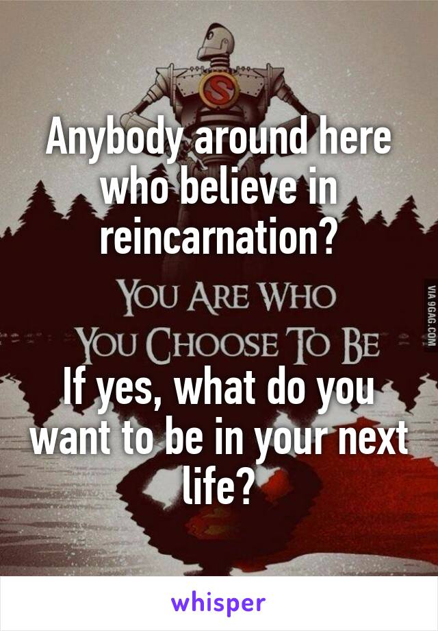 Anybody around here who believe in reincarnation?   If yes, what do you want to be in your next life?