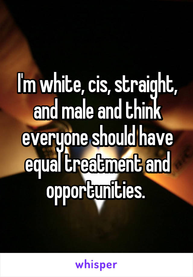 I'm white, cis, straight, and male and think everyone should have equal treatment and opportunities.