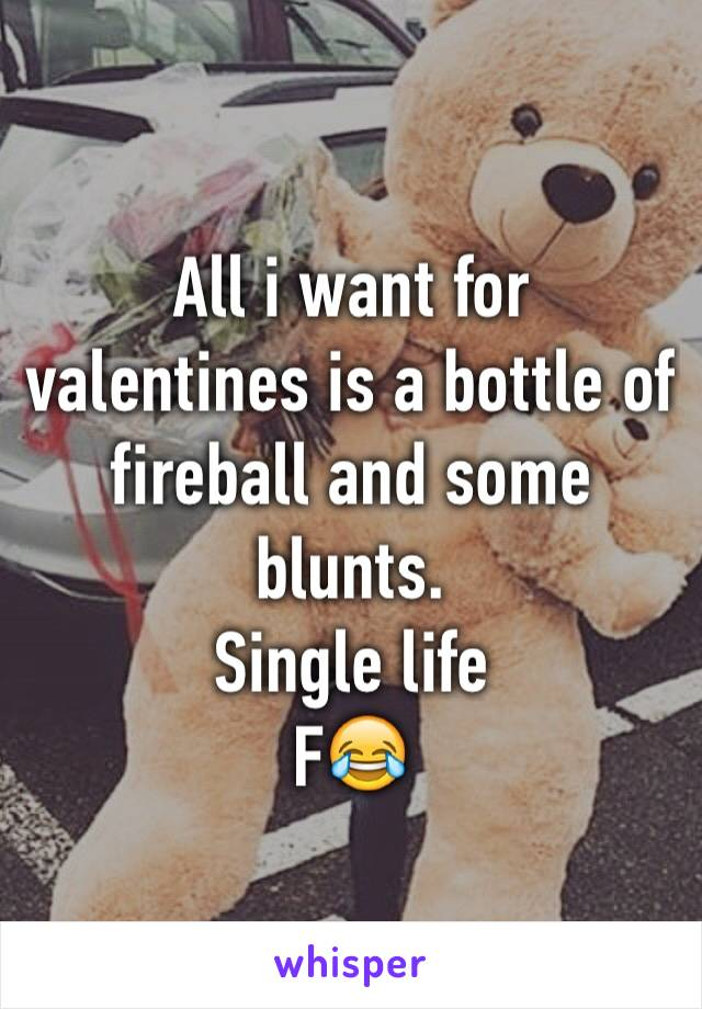 All i want for valentines is a bottle of fireball and some blunts. Single life F😂
