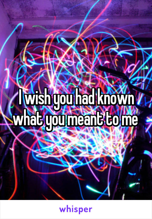 I wish you had known what you meant to me