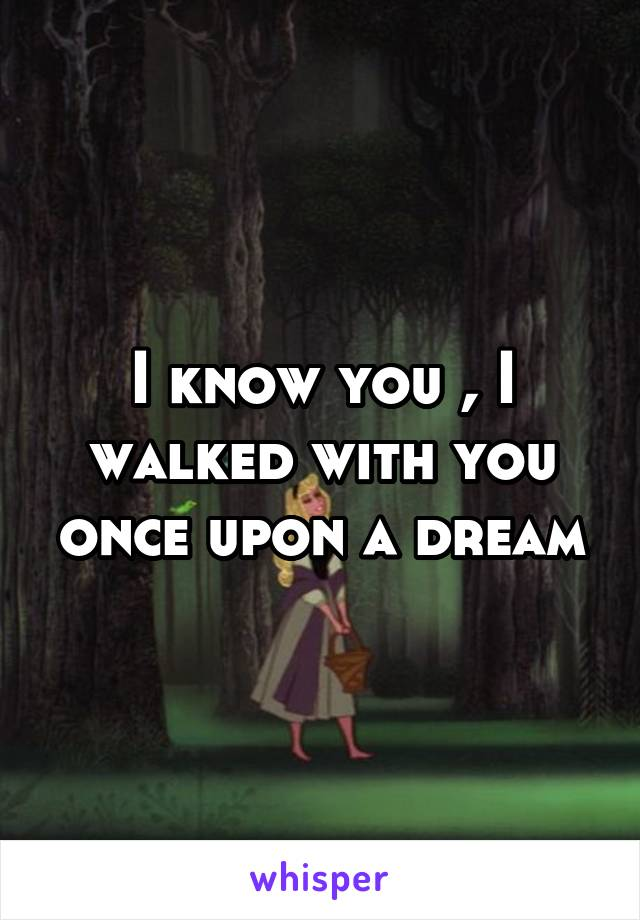 I know you , I walked with you once upon a dream