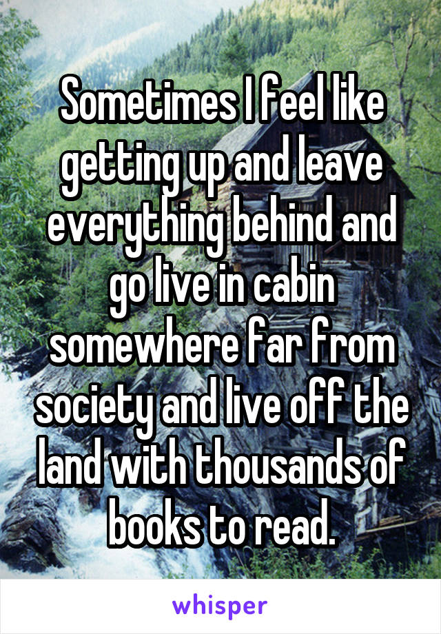 Sometimes I feel like getting up and leave everything behind and go live in cabin somewhere far from society and live off the land with thousands of books to read.