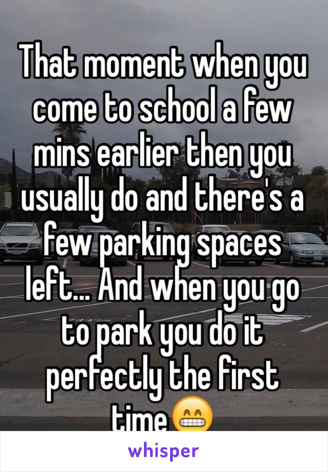 That moment when you come to school a few mins earlier then you usually do and there's a few parking spaces left... And when you go to park you do it perfectly the first time😁