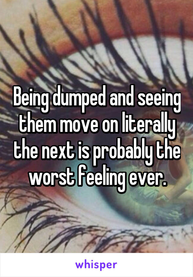 Being dumped and seeing them move on literally the next is probably the worst feeling ever.