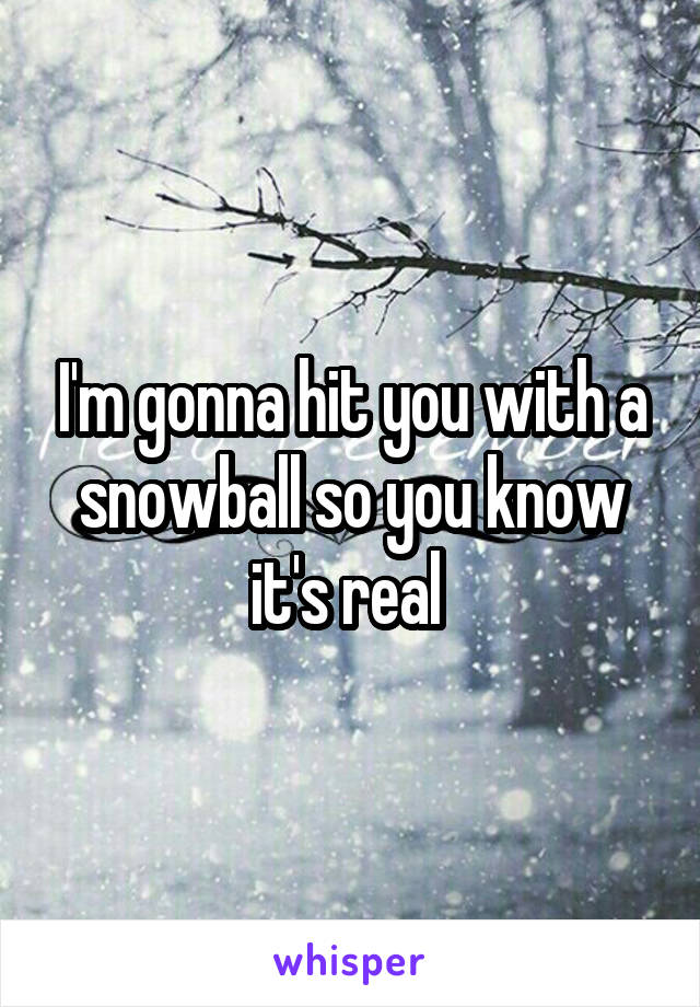 I'm gonna hit you with a snowball so you know it's real