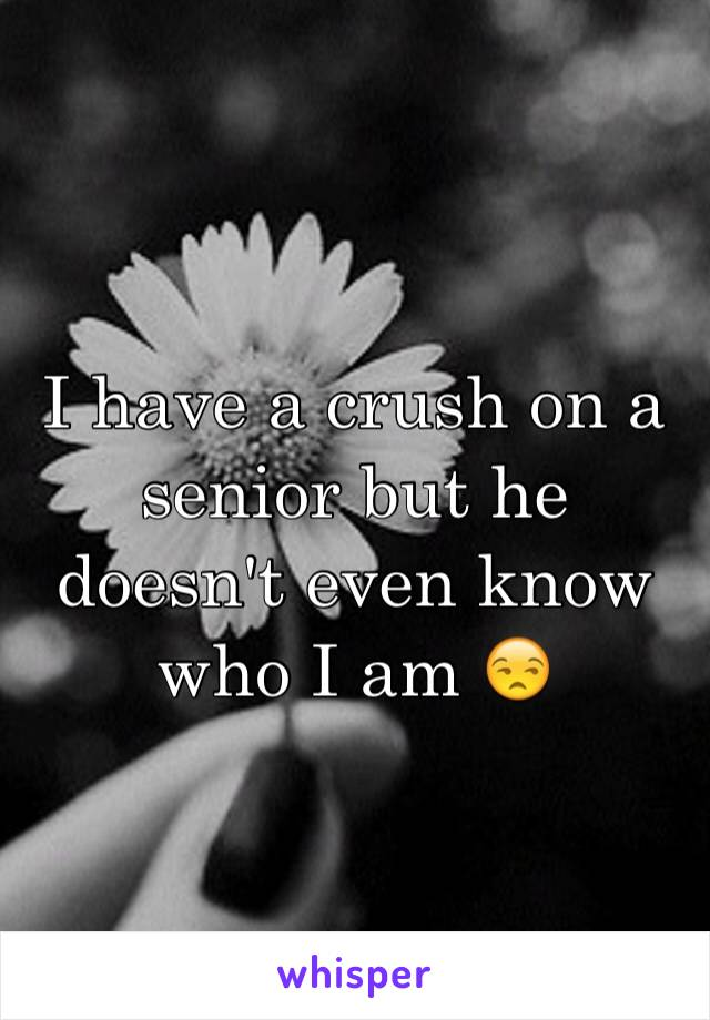 I have a crush on a senior but he doesn't even know who I am 😒