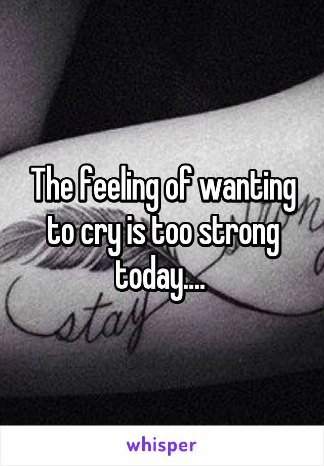 The feeling of wanting to cry is too strong today....