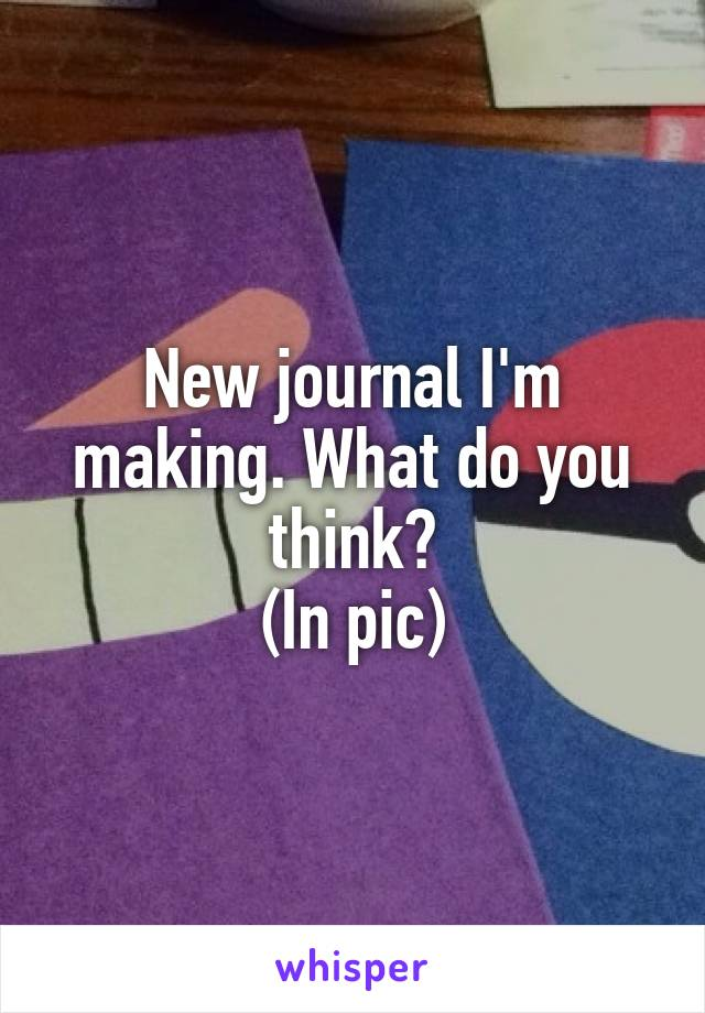 New journal I'm making. What do you think? (In pic)