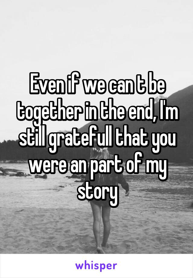 Even if we can t be together in the end, I'm still gratefull that you were an part of my story