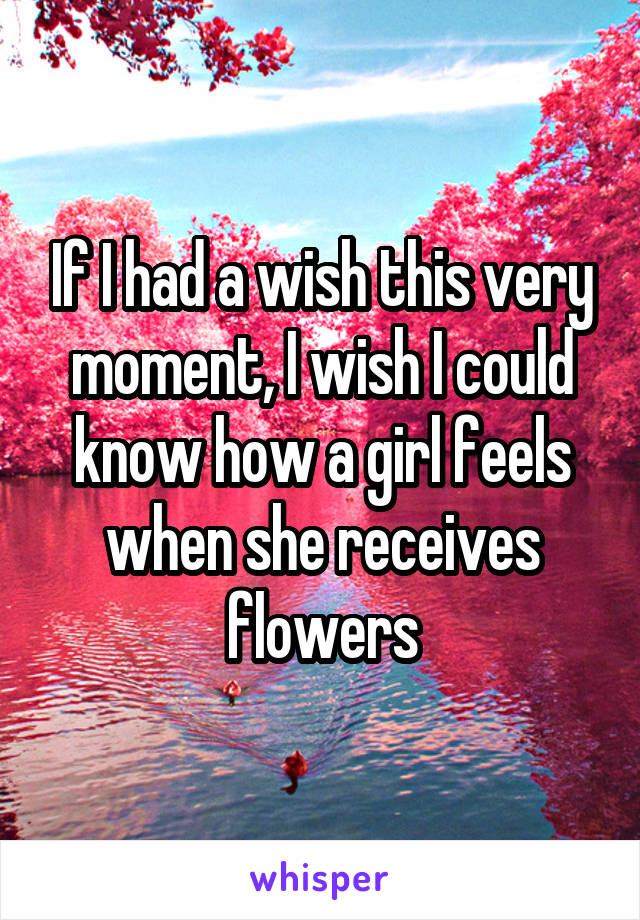 If I had a wish this very moment, I wish I could know how a girl feels when she receives flowers