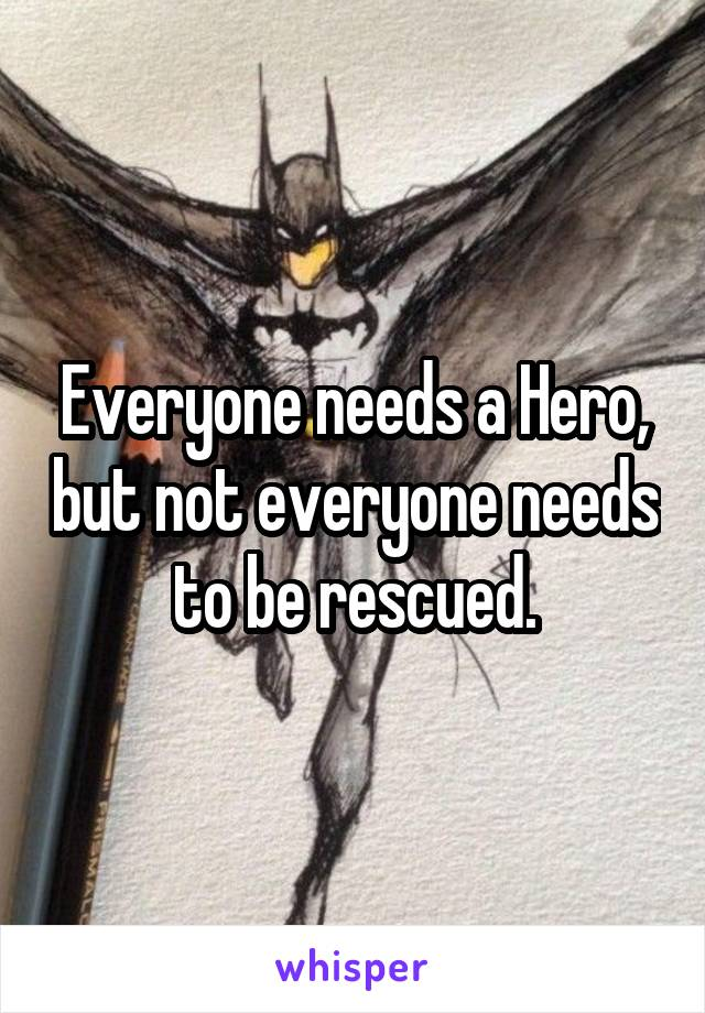 Everyone needs a Hero, but not everyone needs to be rescued.