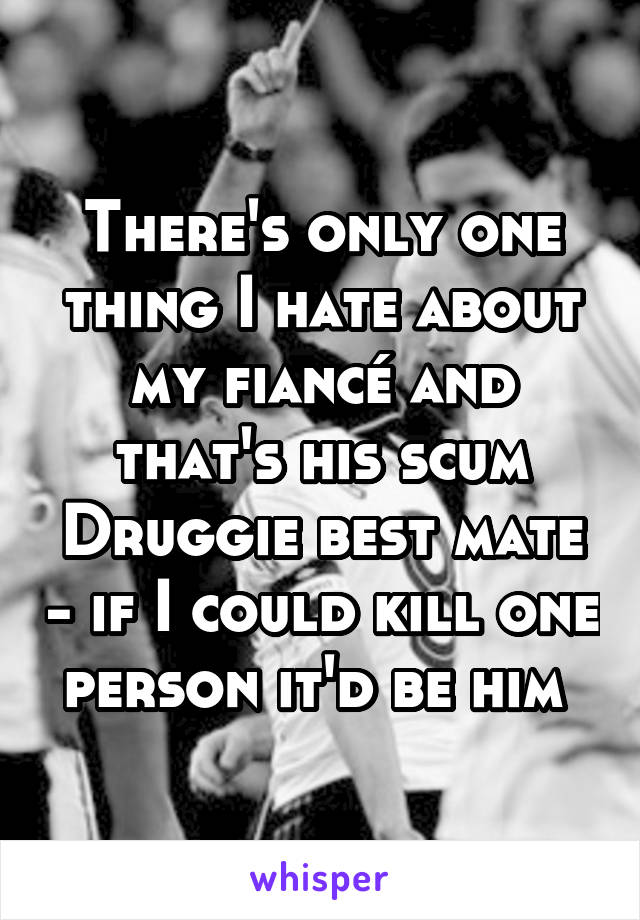 There's only one thing I hate about my fiancé and that's his scum Druggie best mate - if I could kill one person it'd be him