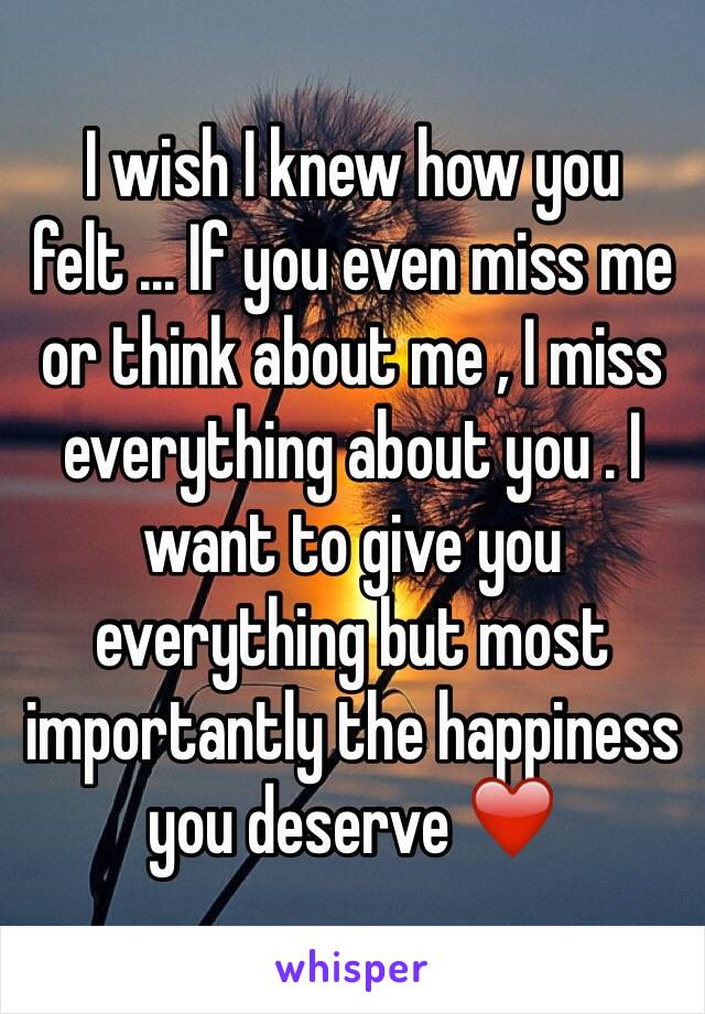 I wish I knew how you felt ... If you even miss me or think about me , I miss everything about you . I want to give you everything but most importantly the happiness you deserve ❤️