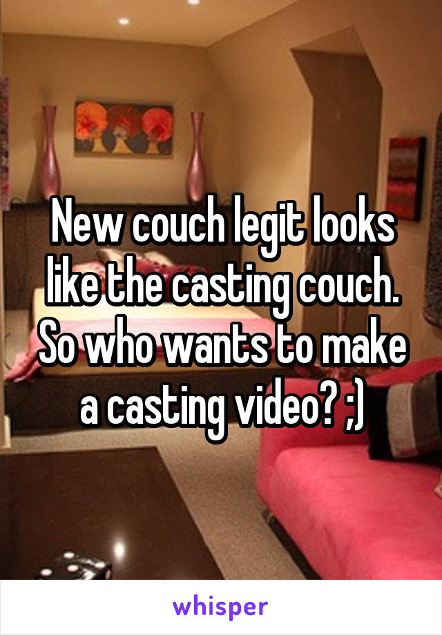 New couch legit looks like the casting couch. So who wants to make a casting video? ;)