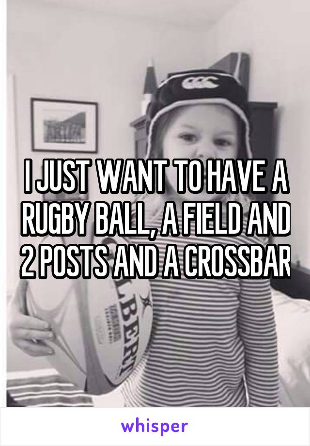 I JUST WANT TO HAVE A RUGBY BALL, A FIELD AND 2 POSTS AND A CROSSBAR