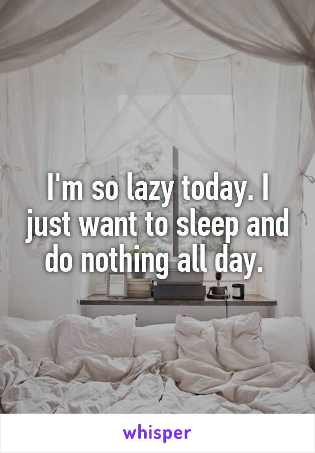 I'm so lazy today. I just want to sleep and do nothing all day.