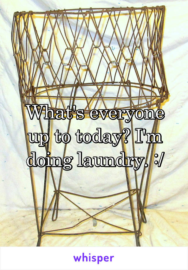 What's everyone up to today? I'm doing laundry. :/
