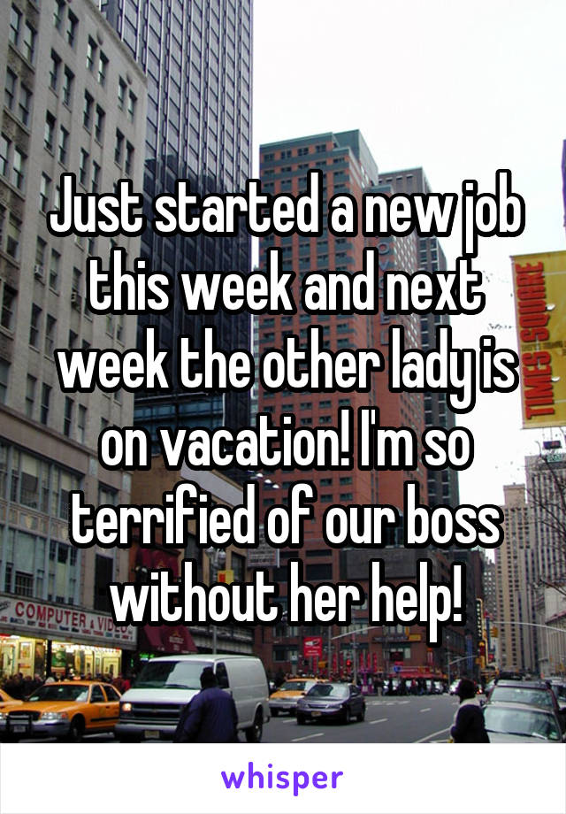 Just started a new job this week and next week the other lady is on vacation! I'm so terrified of our boss without her help!