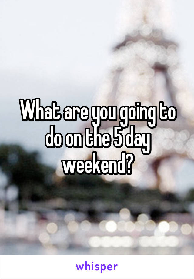 What are you going to do on the 5 day weekend?
