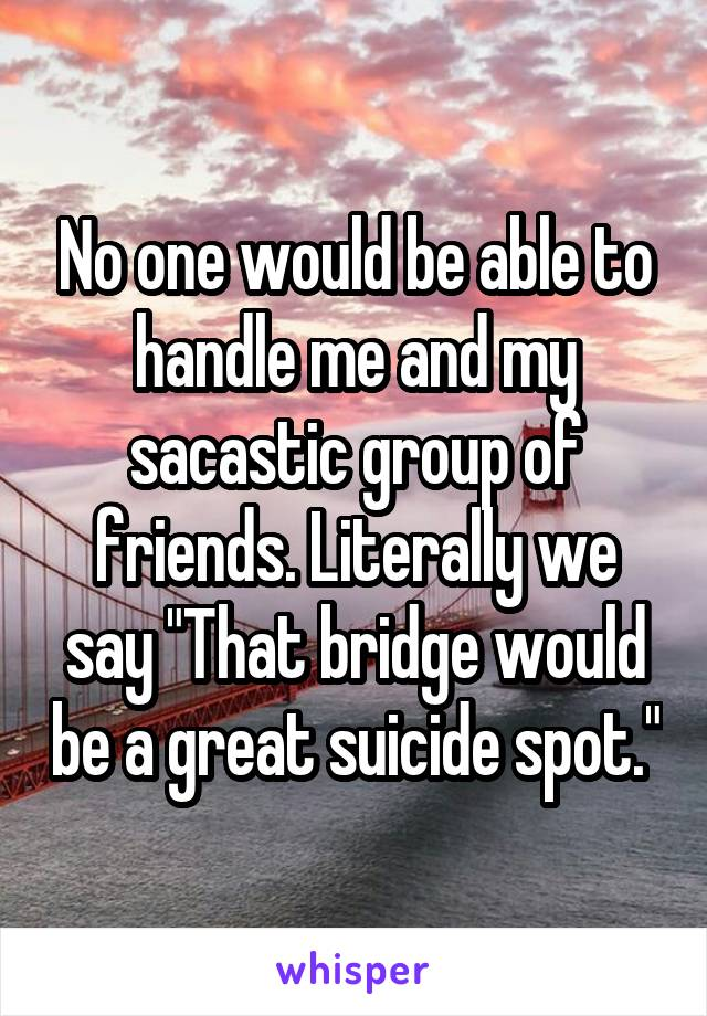 """No one would be able to handle me and my sacastic group of friends. Literally we say """"That bridge would be a great suicide spot."""""""