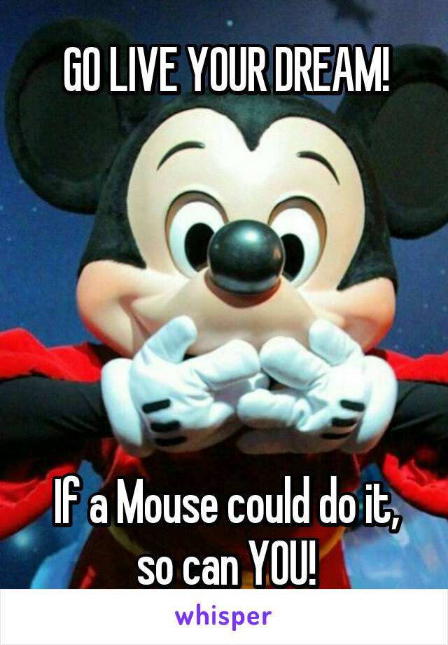 GO LIVE YOUR DREAM!       If a Mouse could do it, so can YOU!