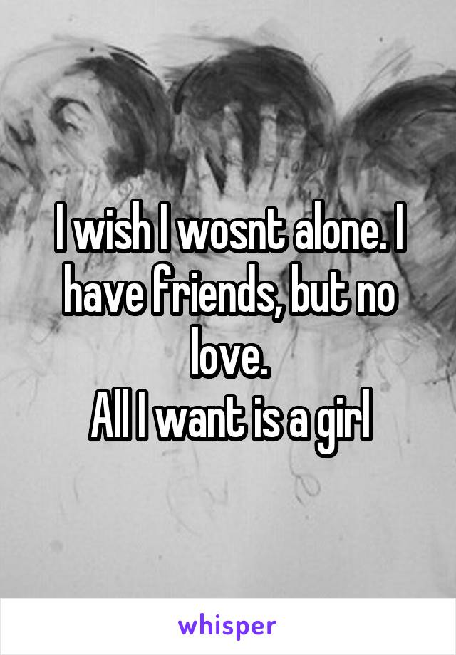 I wish I wosnt alone. I have friends, but no love. All I want is a girl