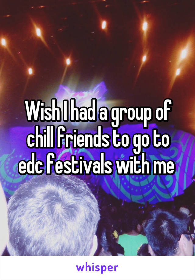 Wish I had a group of chill friends to go to edc festivals with me
