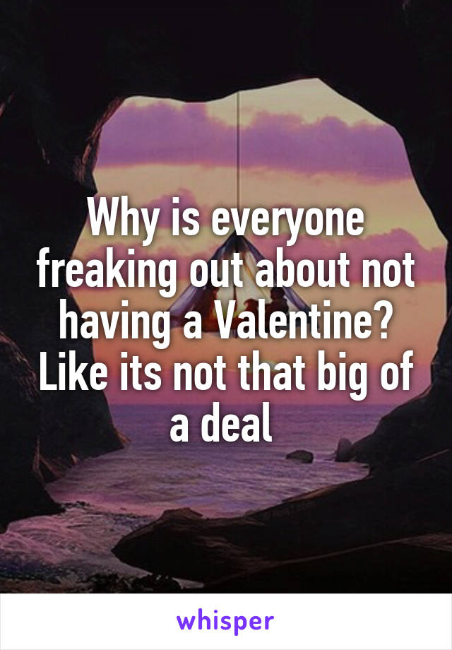 Why is everyone freaking out about not having a Valentine? Like its not that big of a deal