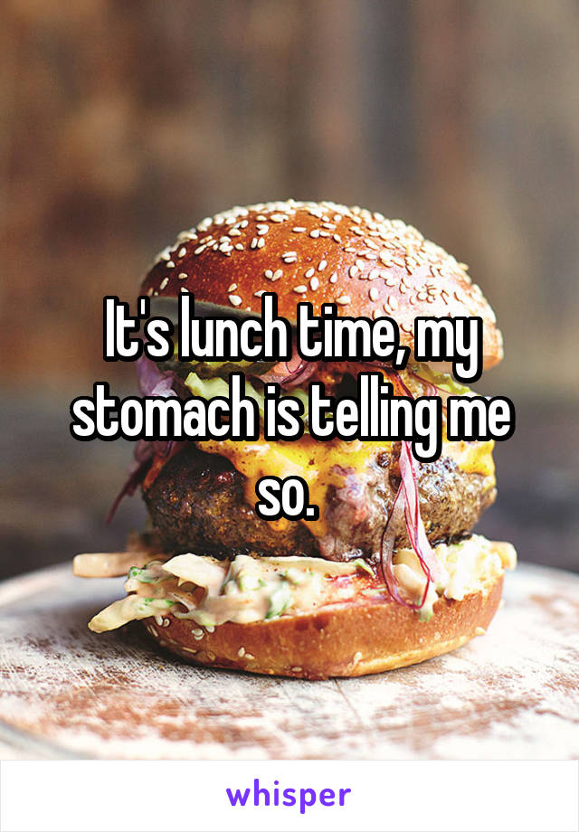 It's lunch time, my stomach is telling me so.