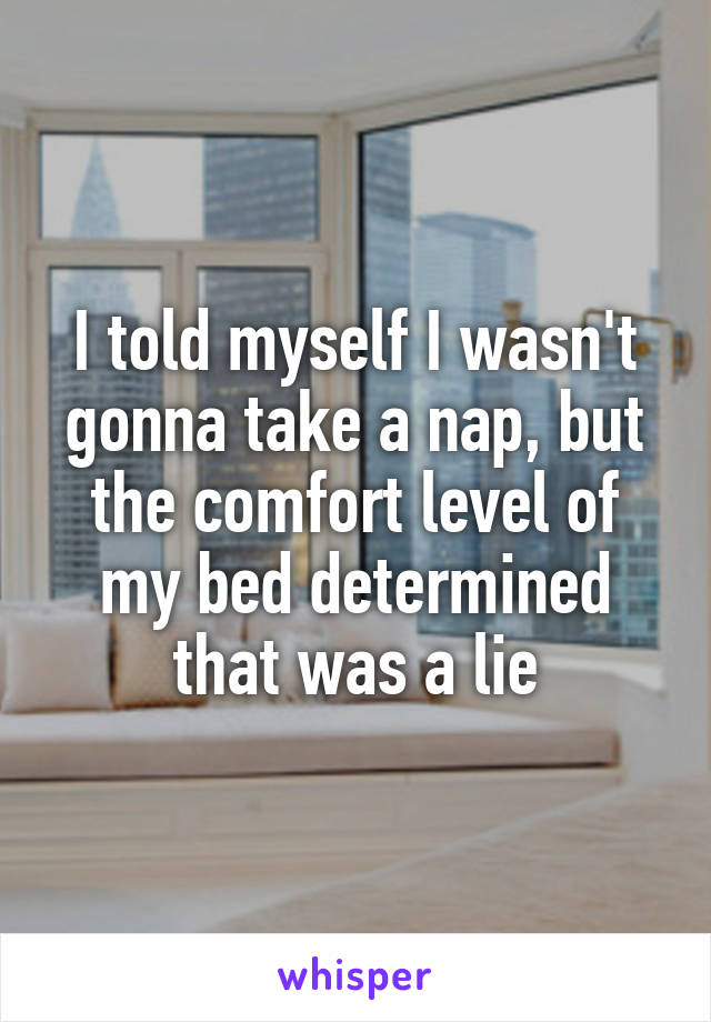 I told myself I wasn't gonna take a nap, but the comfort level of my bed determined that was a lie