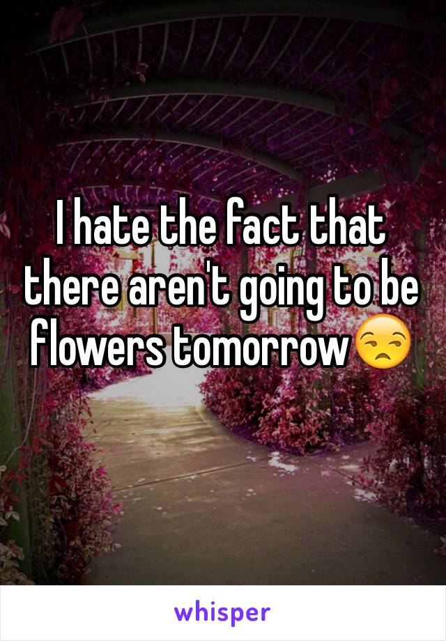 I hate the fact that there aren't going to be flowers tomorrow😒