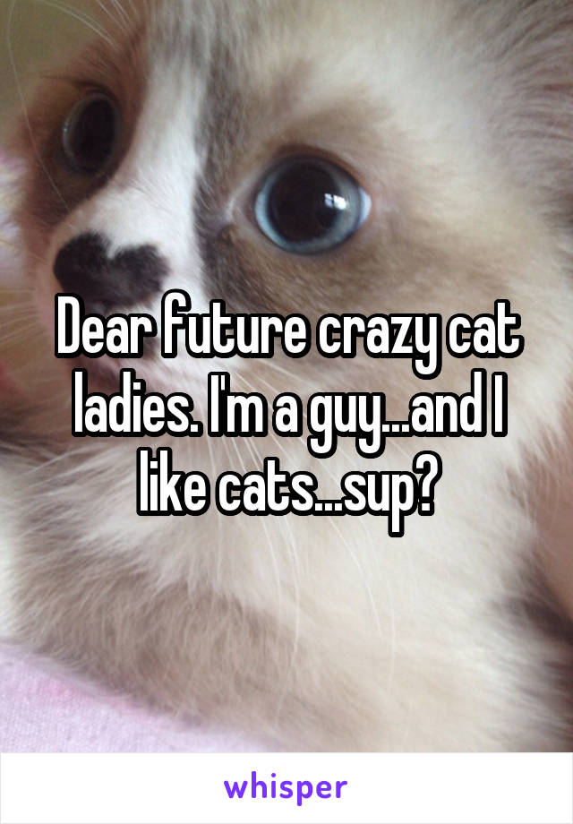 Dear future crazy cat ladies. I'm a guy...and I like cats...sup?