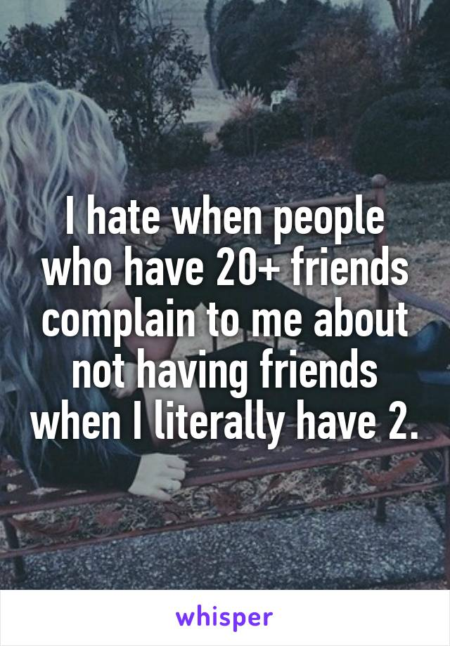 I hate when people who have 20+ friends complain to me about not having friends when I literally have 2.