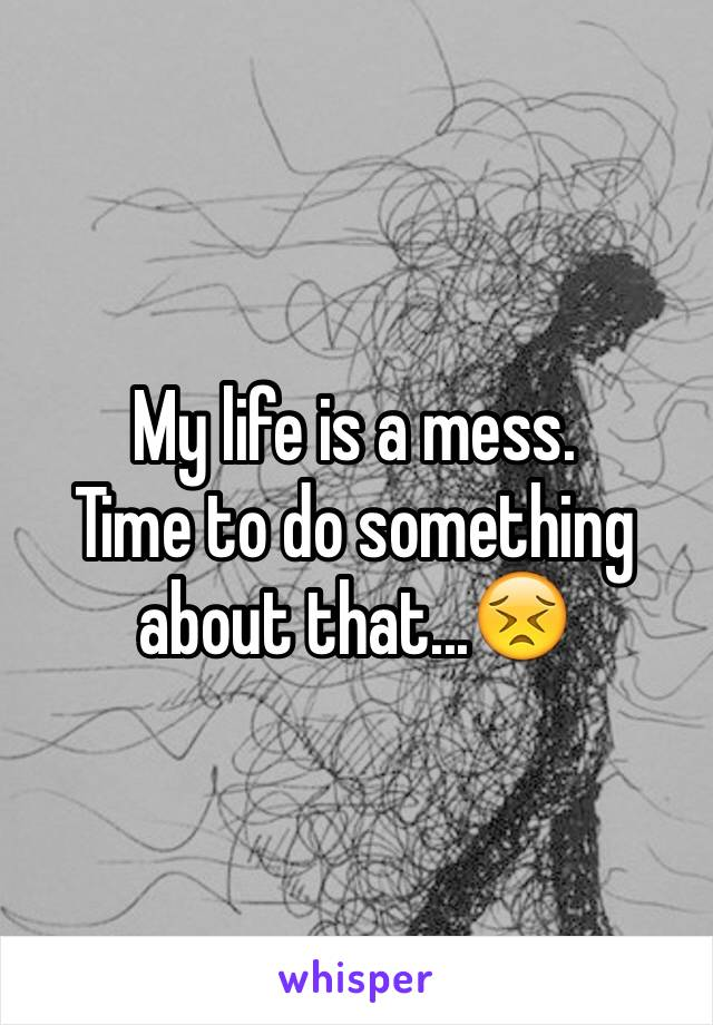 My life is a mess.  Time to do something about that...😣