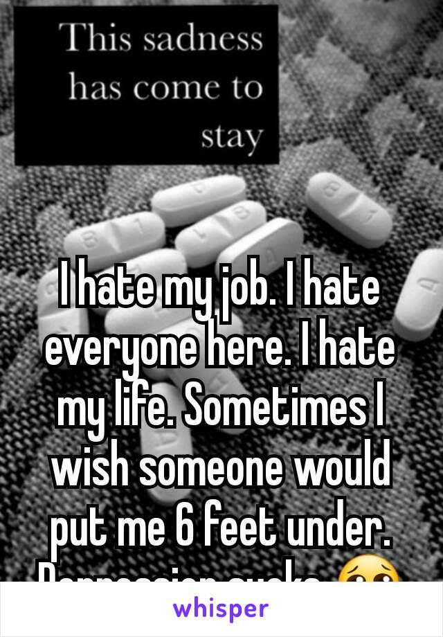 I hate my job. I hate everyone here. I hate my life. Sometimes I wish someone would put me 6 feet under. Depression sucks 😢