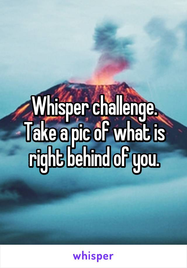 Whisper challenge. Take a pic of what is right behind of you.