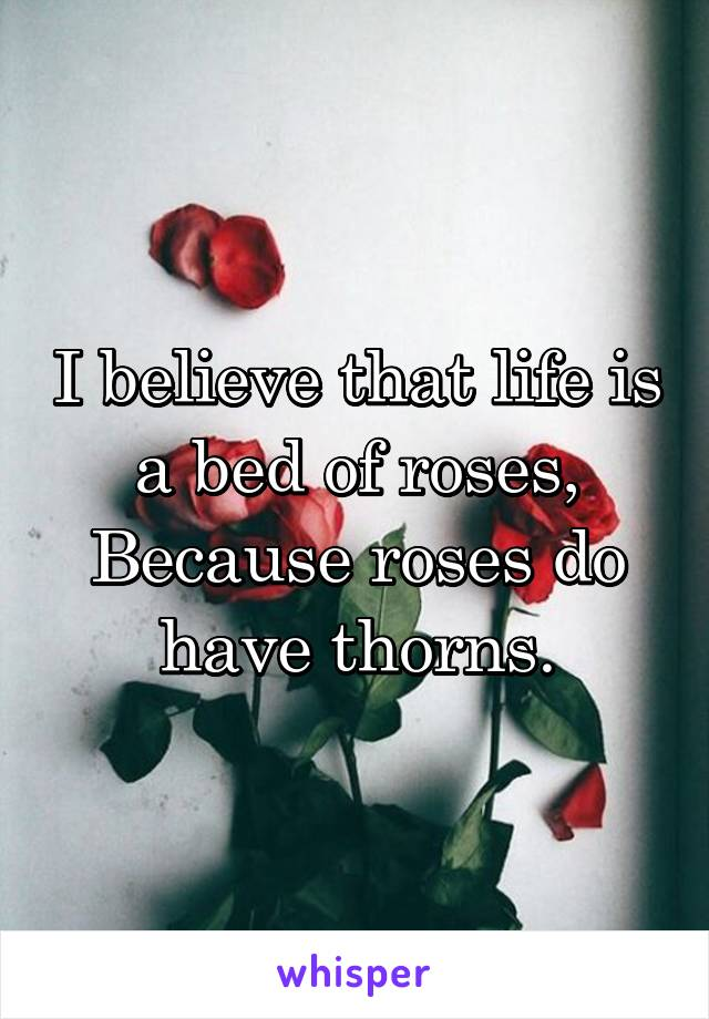 I believe that life is a bed of roses, Because roses do have thorns.