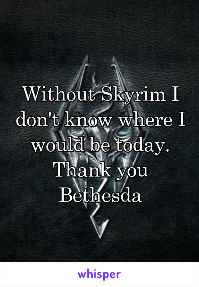 Without Skyrim I don't know where I would be today. Thank you Bethesda