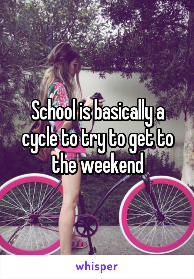 School is basically a cycle to try to get to the weekend