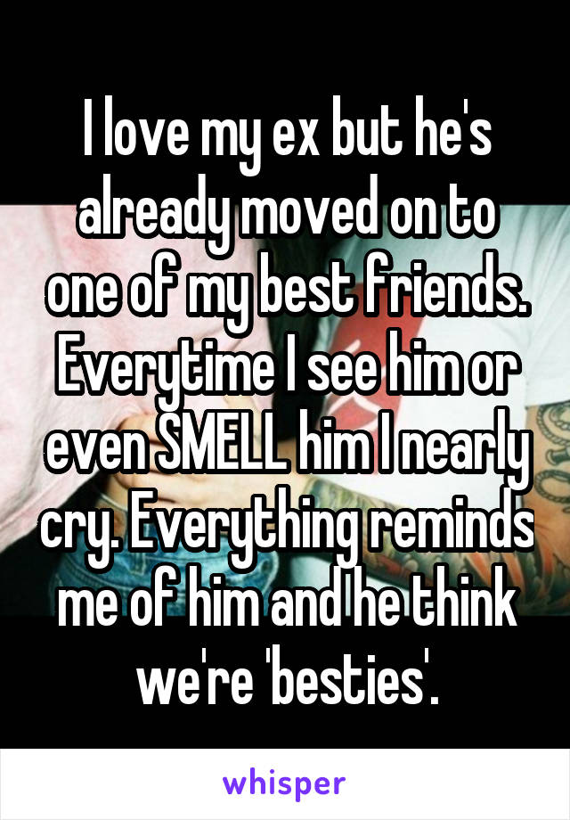 I love my ex but he's already moved on to one of my best friends. Everytime I see him or even SMELL him I nearly cry. Everything reminds me of him and he think we're 'besties'.
