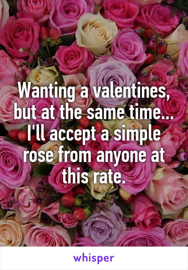 Wanting a valentines, but at the same time... I'll accept a simple rose from anyone at this rate.