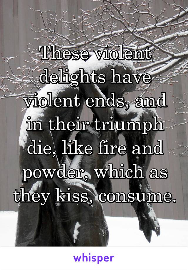 These violent delights have violent ends, and in their triumph die, like fire and powder, which as they kiss, consume.