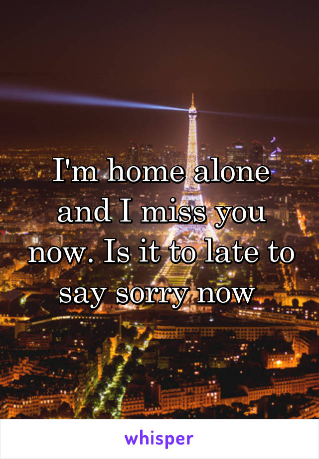 I'm home alone and I miss you now. Is it to late to say sorry now