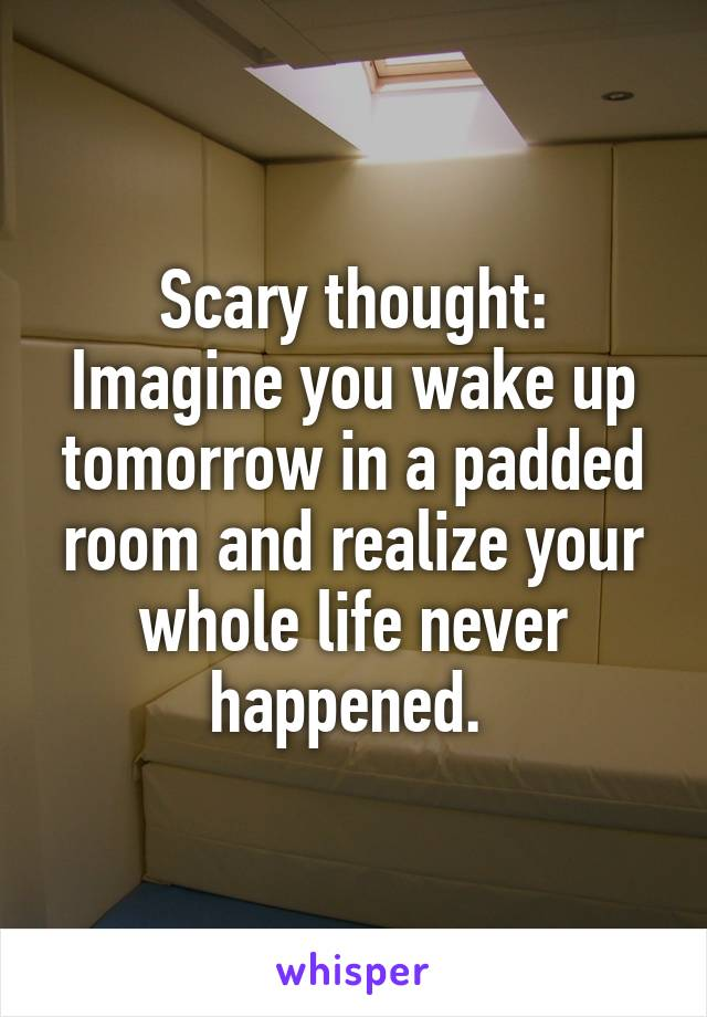 Scary thought: Imagine you wake up tomorrow in a padded room and realize your whole life never happened.