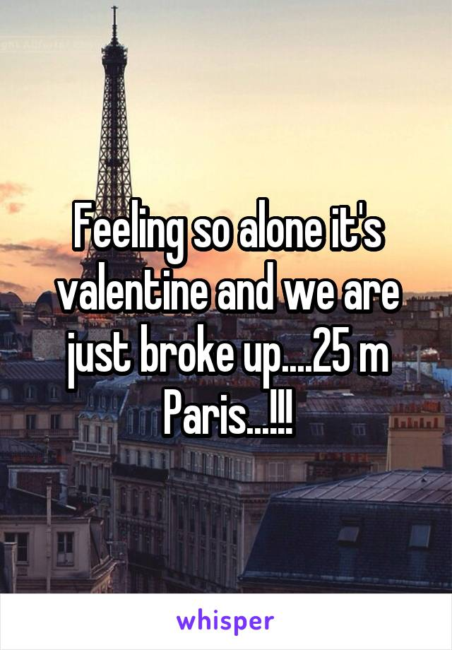 Feeling so alone it's valentine and we are just broke up....25 m Paris...!!!