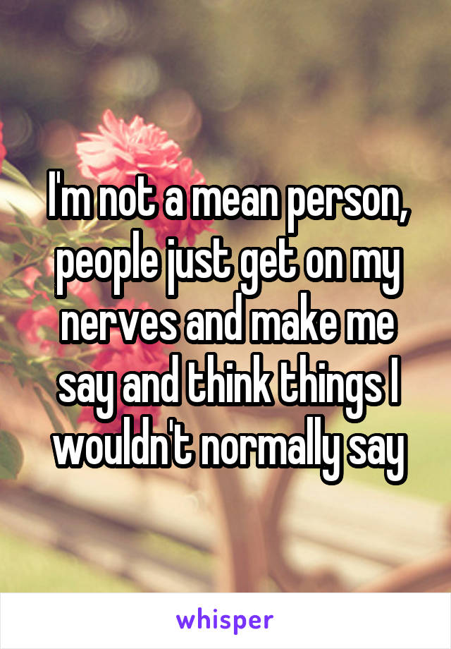 I'm not a mean person, people just get on my nerves and make me say and think things I wouldn't normally say